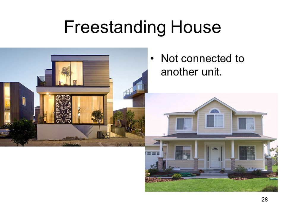 Freestanding House Not connected to another unit.