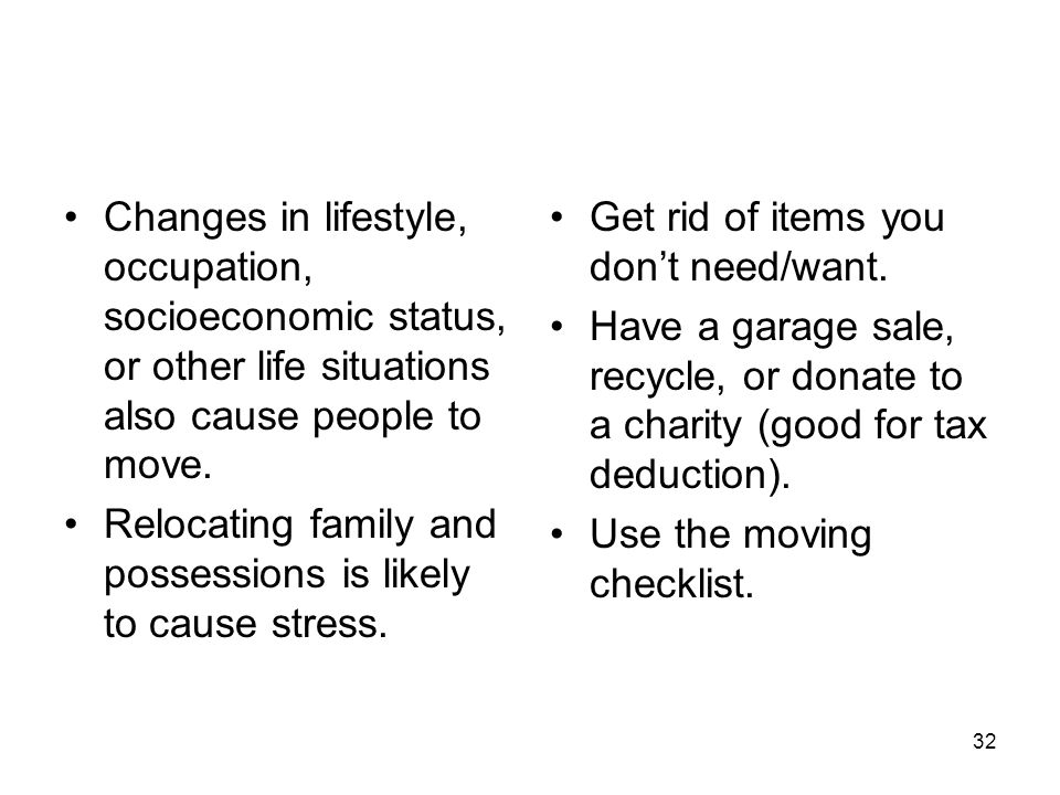Changes in lifestyle, occupation, socioeconomic status, or other life situations also cause people to move.