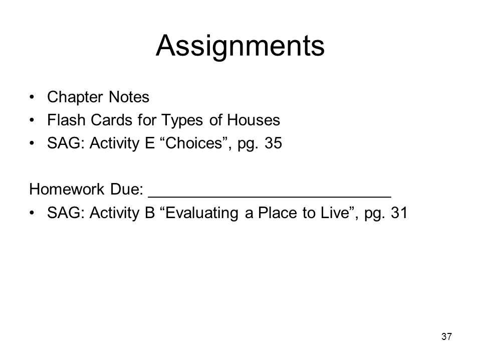 Assignments Chapter Notes Flash Cards for Types of Houses