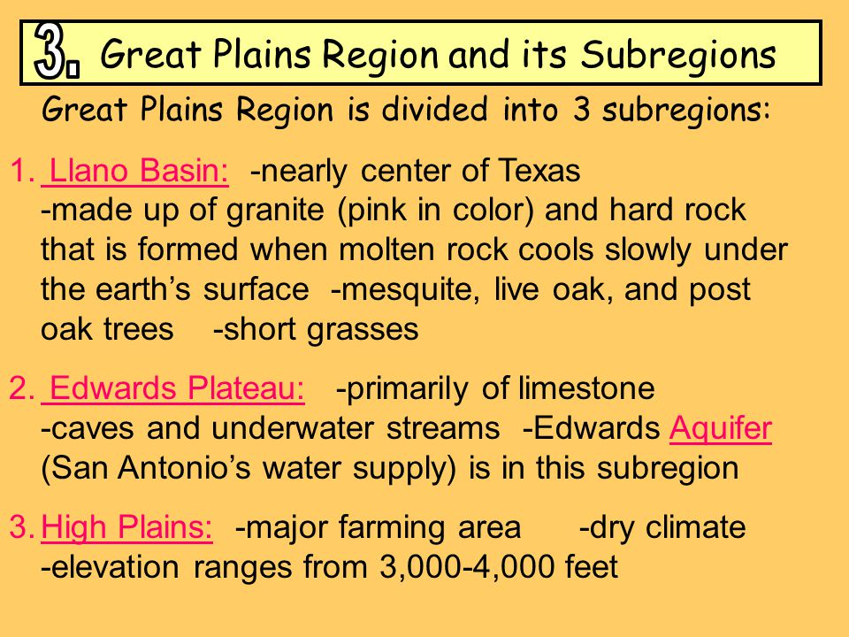 Great Plains Region and its Subregions 3.