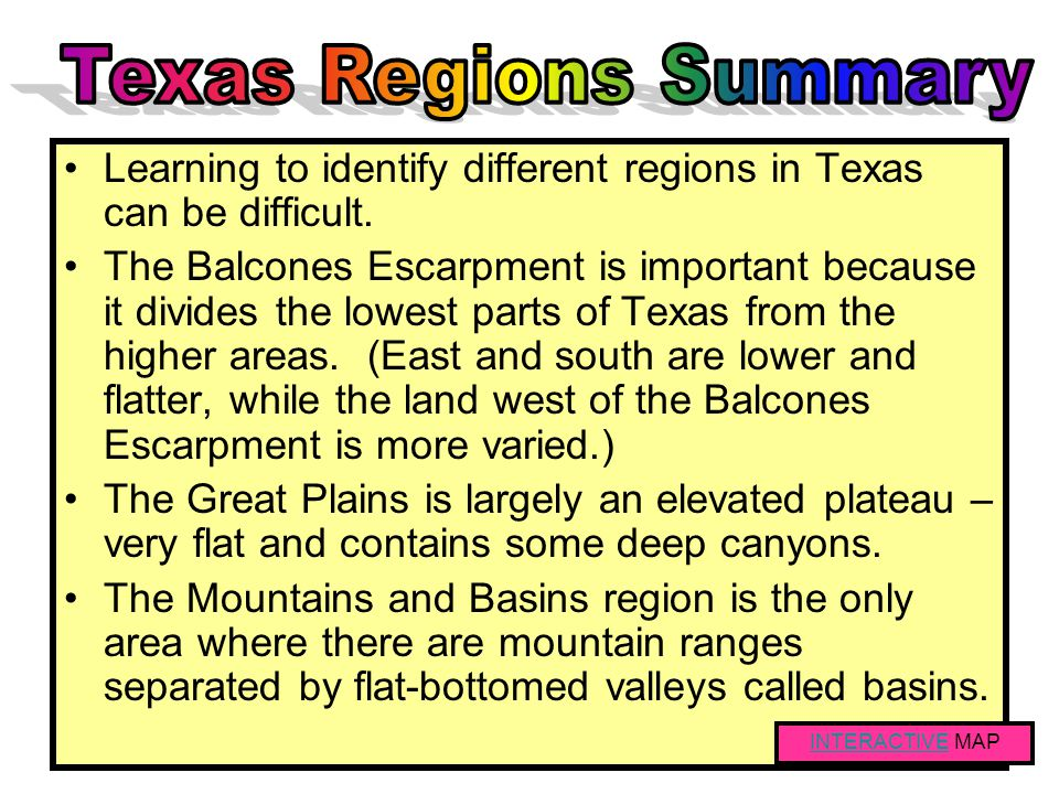 Texas Regions Summary Learning to identify different regions in Texas can be difficult.
