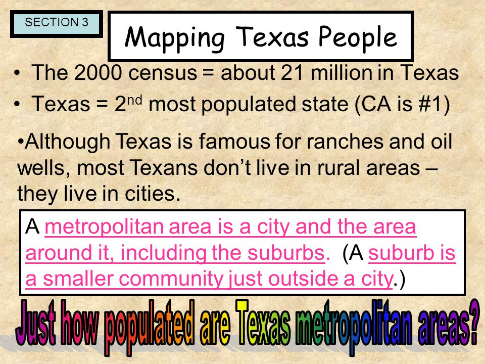 Just how populated are Texas metropolitan areas