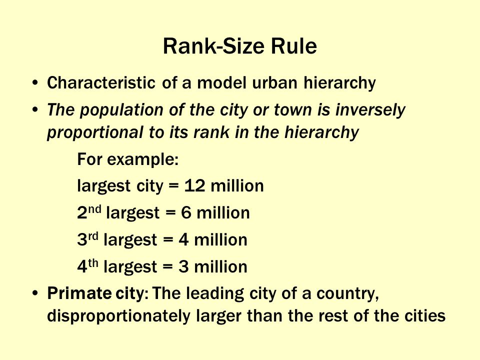 Rank-Size Rule Characteristic of a model urban hierarchy