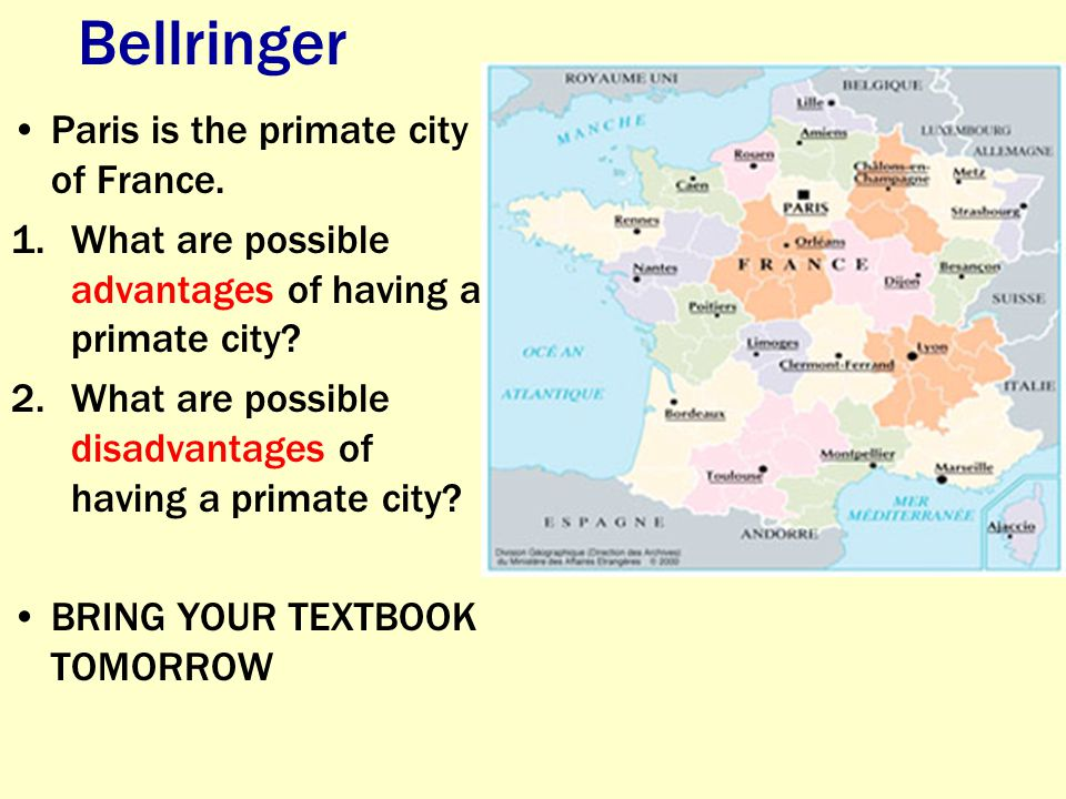 Bellringer Paris is the primate city of France.