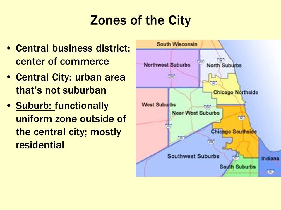 Zones of the City Central business district: center of commerce
