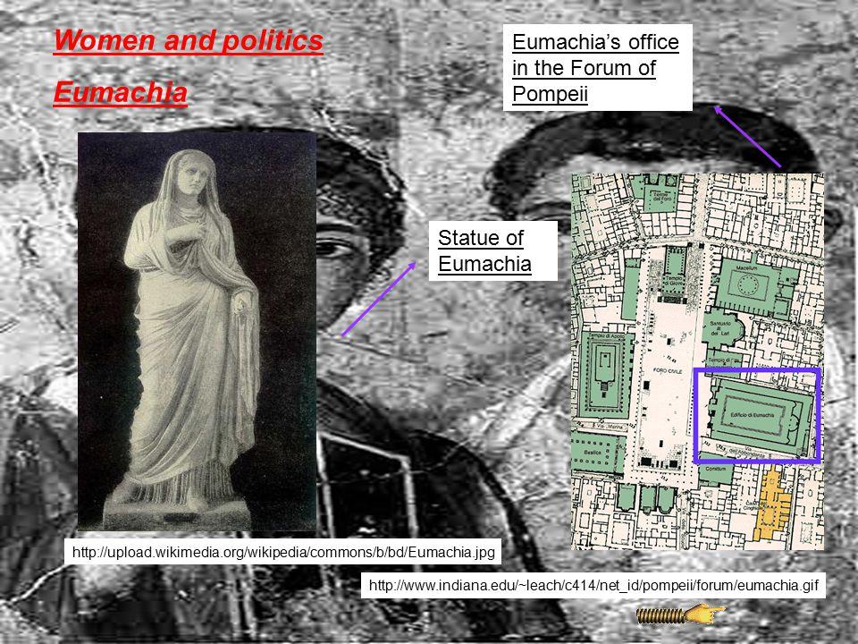 Women and politics Eumachia Eumachia's office in the Forum of Pompeii