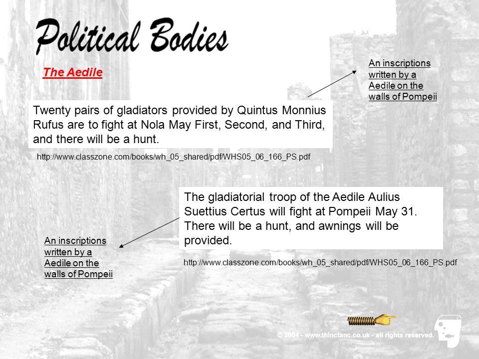 Political Bodies The Aedile