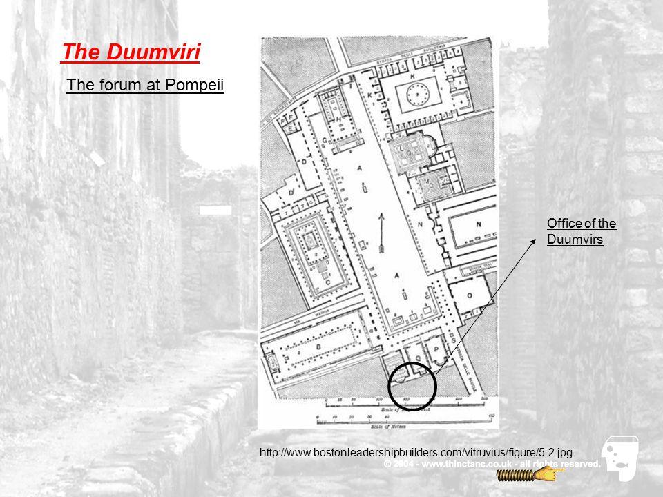 The Duumviri The forum at Pompeii Office of the Duumvirs