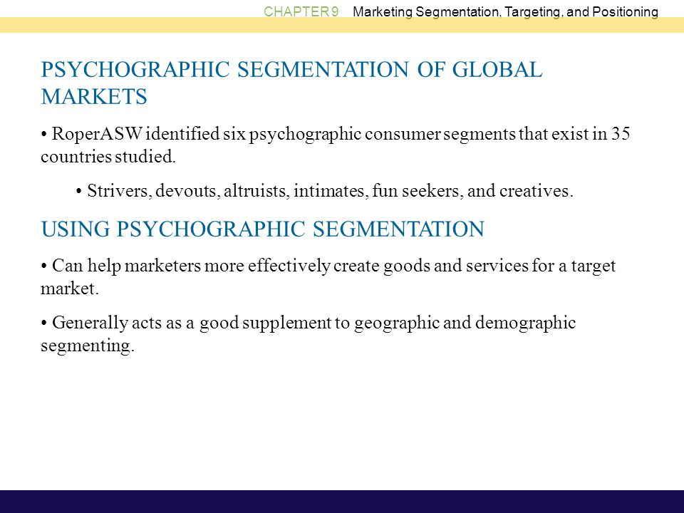 PSYCHOGRAPHIC SEGMENTATION OF GLOBAL MARKETS