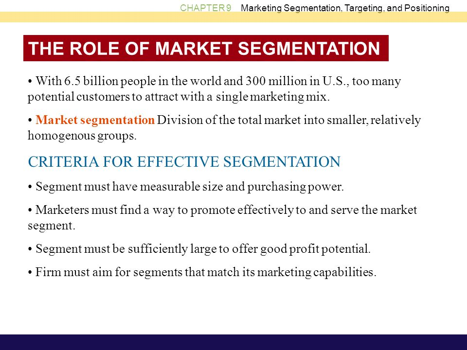 THE ROLE OF MARKET SEGMENTATION