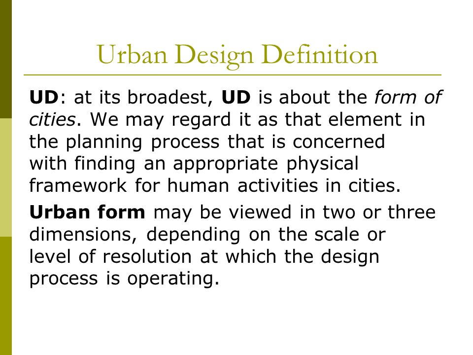 Urban Design Definition