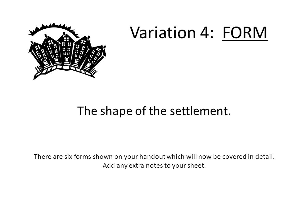 The shape of the settlement.