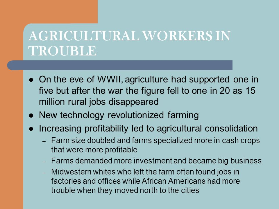 AGRICULTURAL WORKERS IN TROUBLE