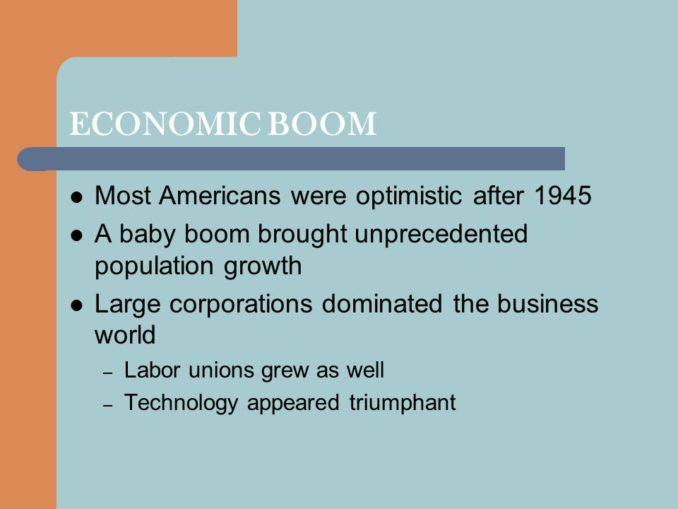 ECONOMIC BOOM Most Americans were optimistic after 1945