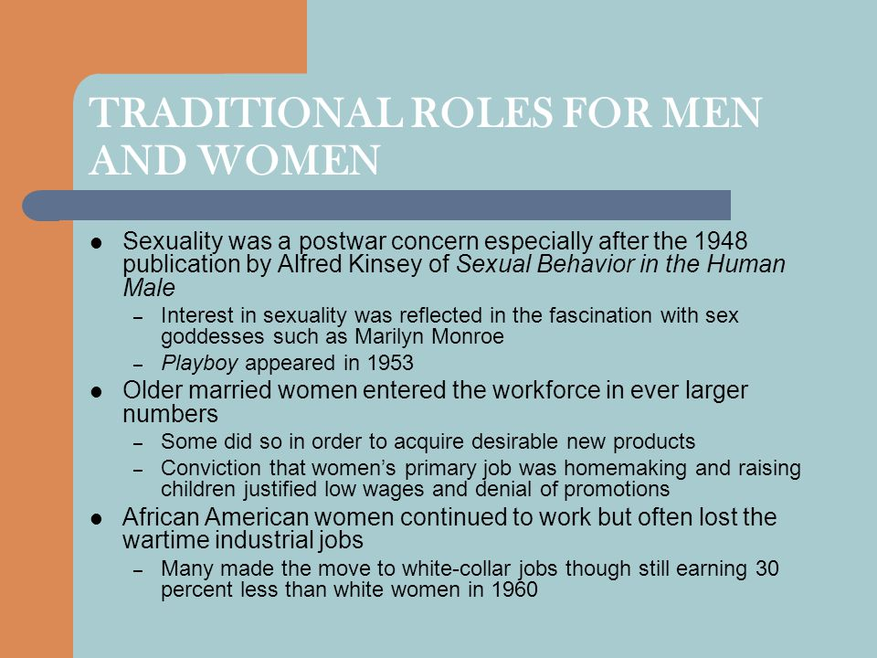 TRADITIONAL ROLES FOR MEN AND WOMEN
