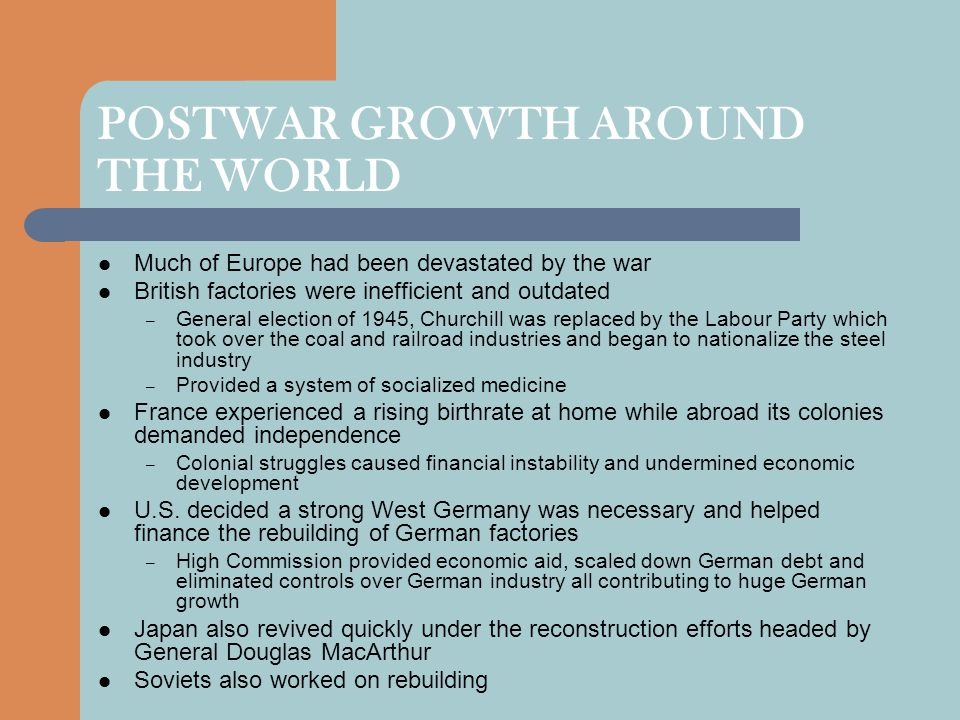 POSTWAR GROWTH AROUND THE WORLD
