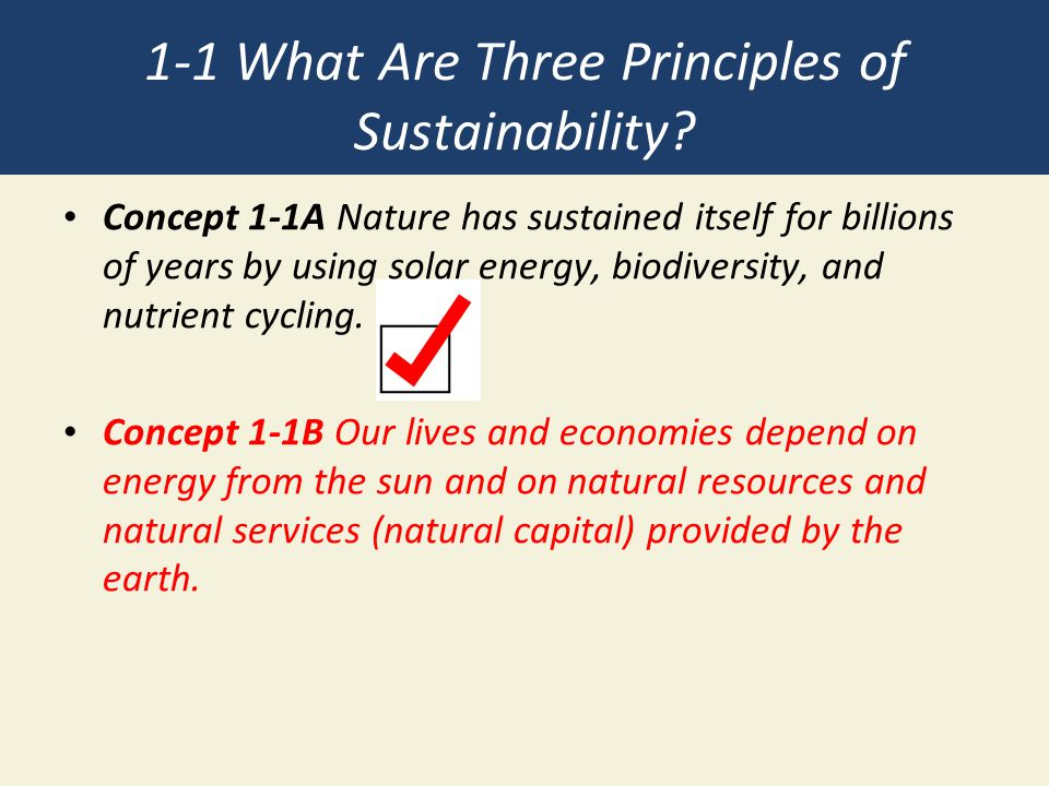 1-1 What Are Three Principles of Sustainability