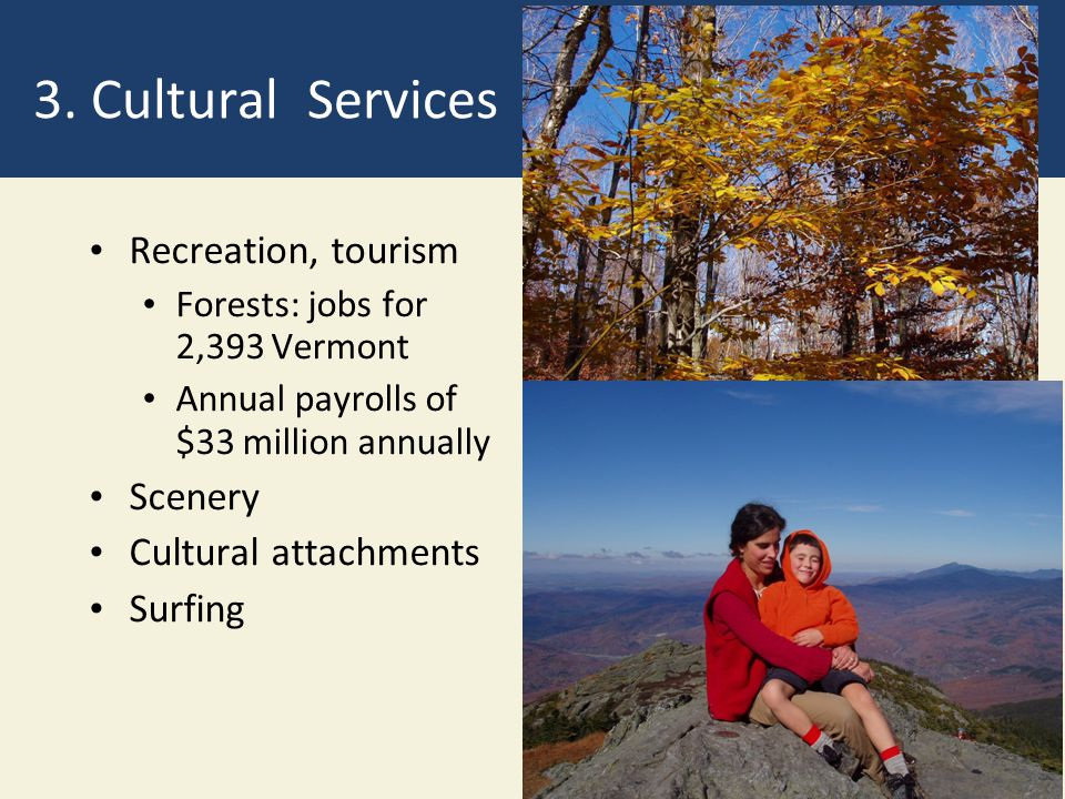 3. Cultural Services Recreation, tourism Scenery Cultural attachments