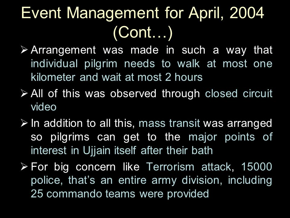 Event Management for April, 2004 (Cont…)