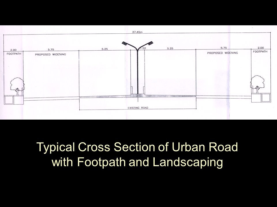 Typical Cross Section of Urban Road with Footpath and Landscaping