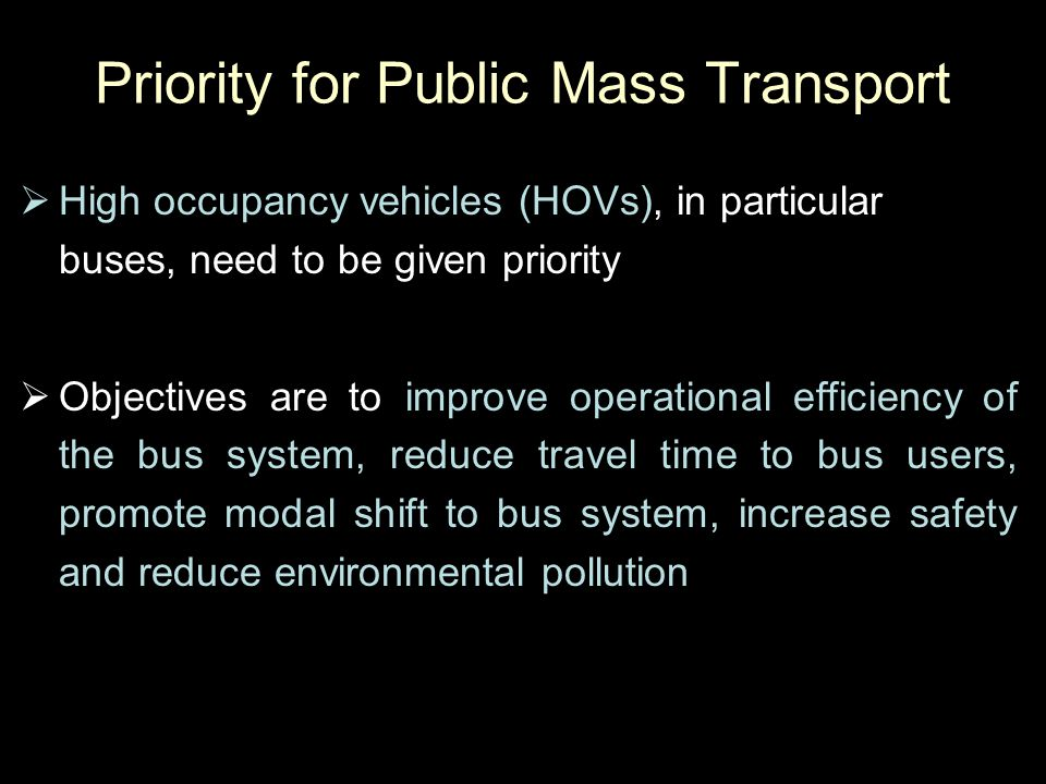 Priority for Public Mass Transport