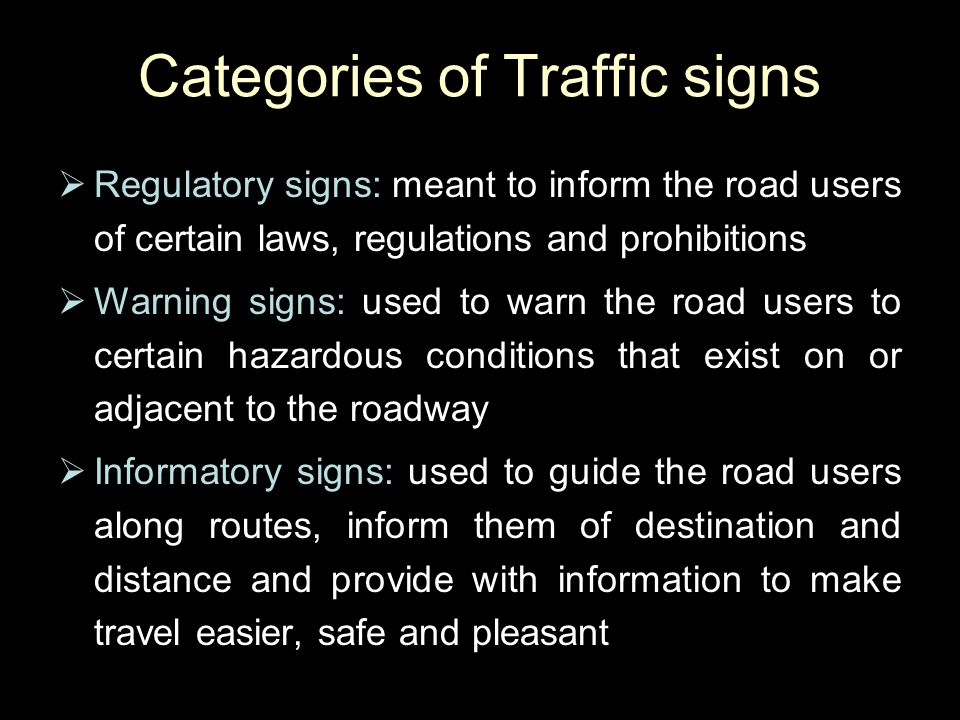 Categories of Traffic signs