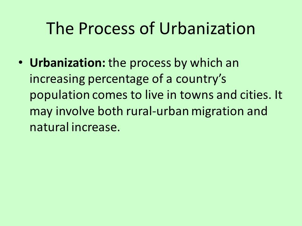 The Process of Urbanization