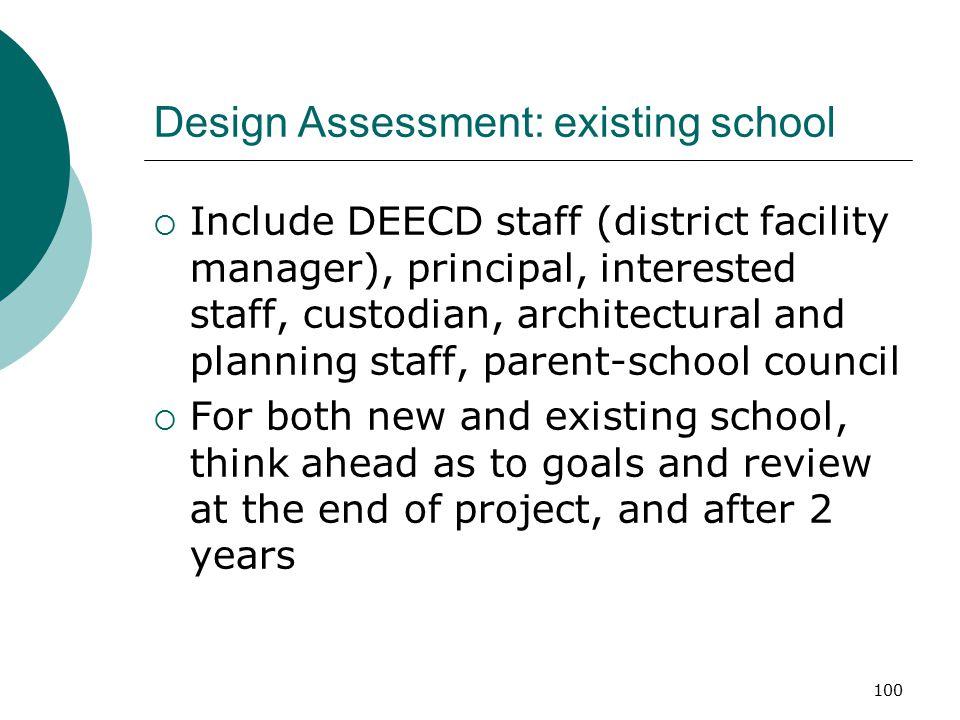 Design Assessment: existing school