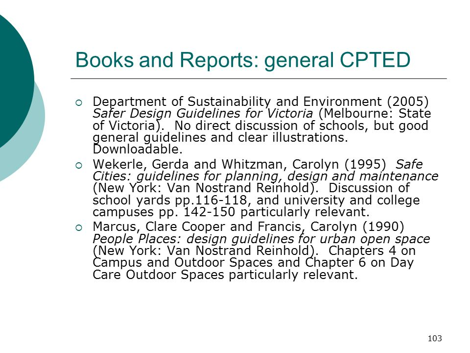 Books and Reports: general CPTED