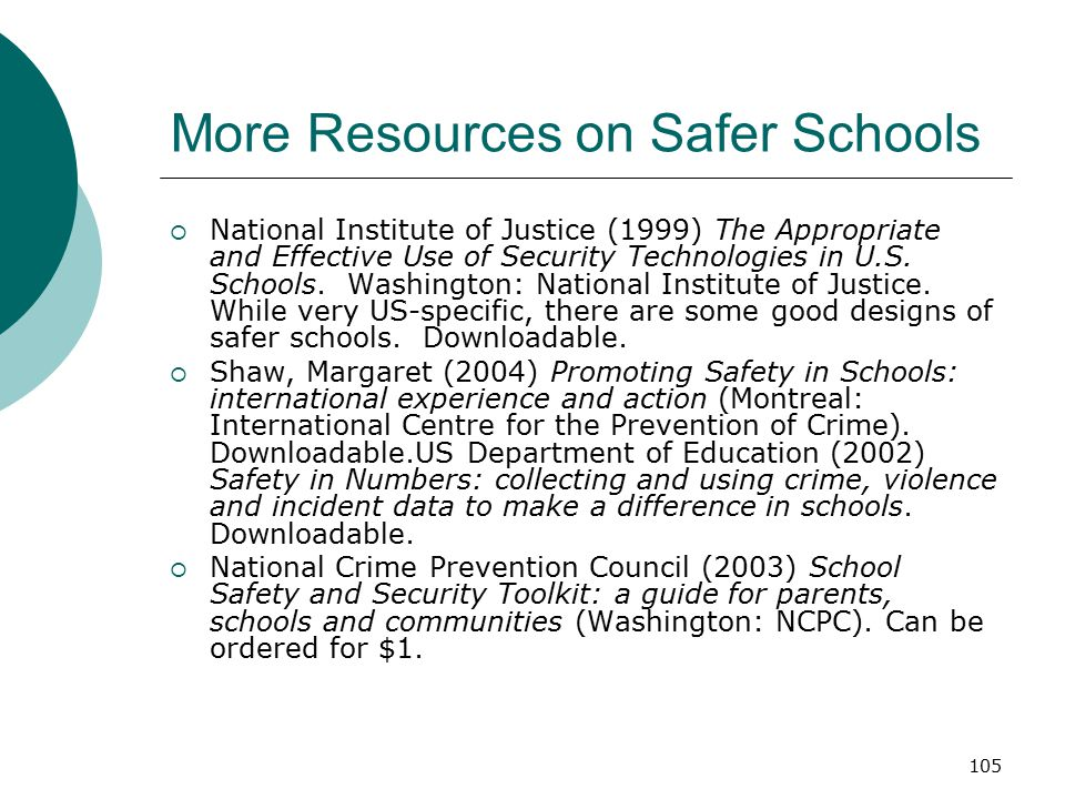 More Resources on Safer Schools