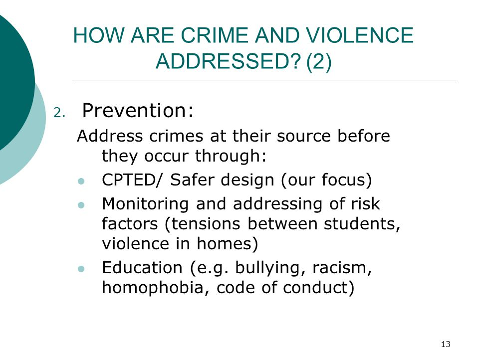 HOW ARE CRIME AND VIOLENCE ADDRESSED (2)