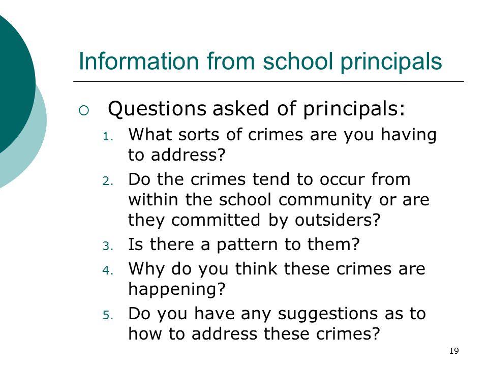 Information from school principals