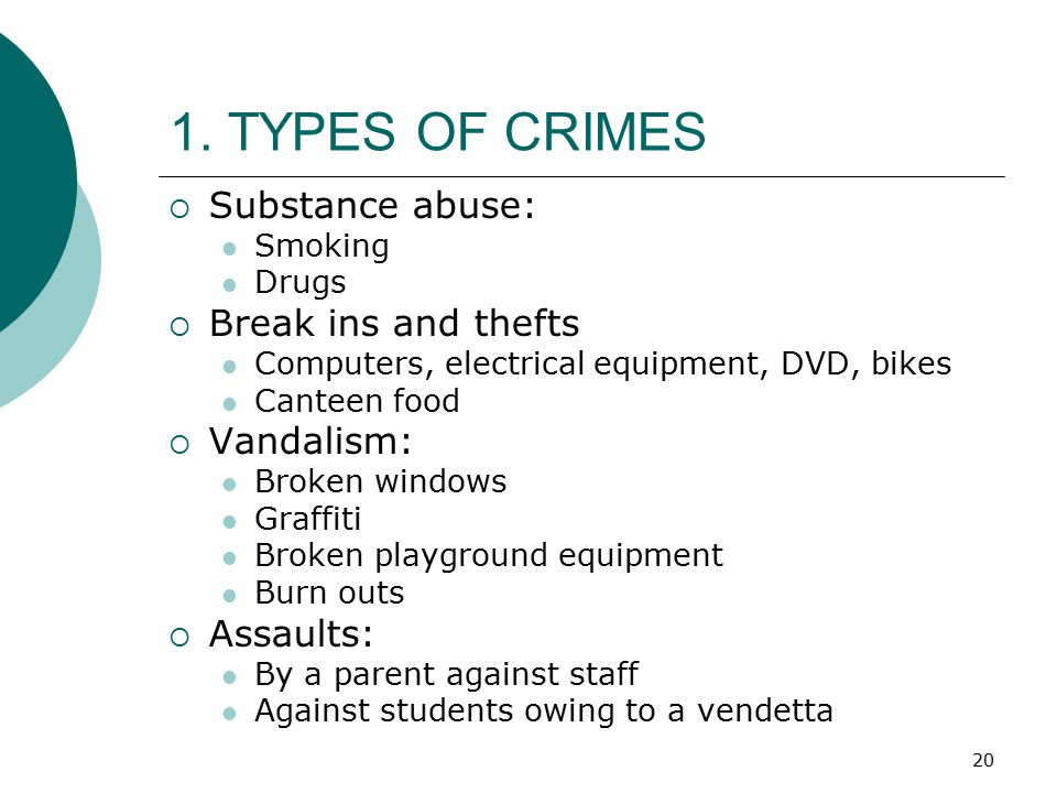 1. TYPES OF CRIMES Substance abuse: Break ins and thefts Vandalism: