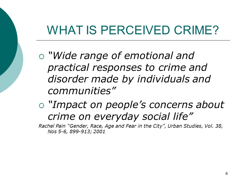 WHAT IS PERCEIVED CRIME