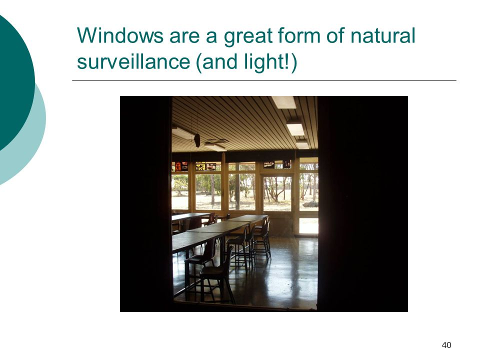 Windows are a great form of natural surveillance (and light!)