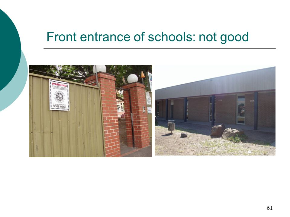 Front entrance of schools: not good