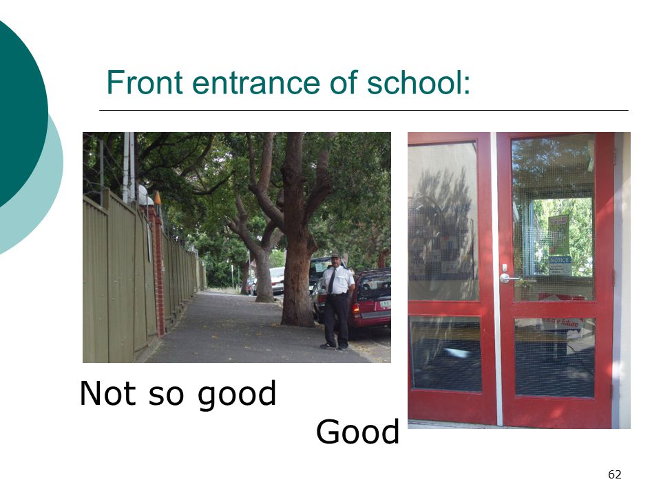 Front entrance of school: