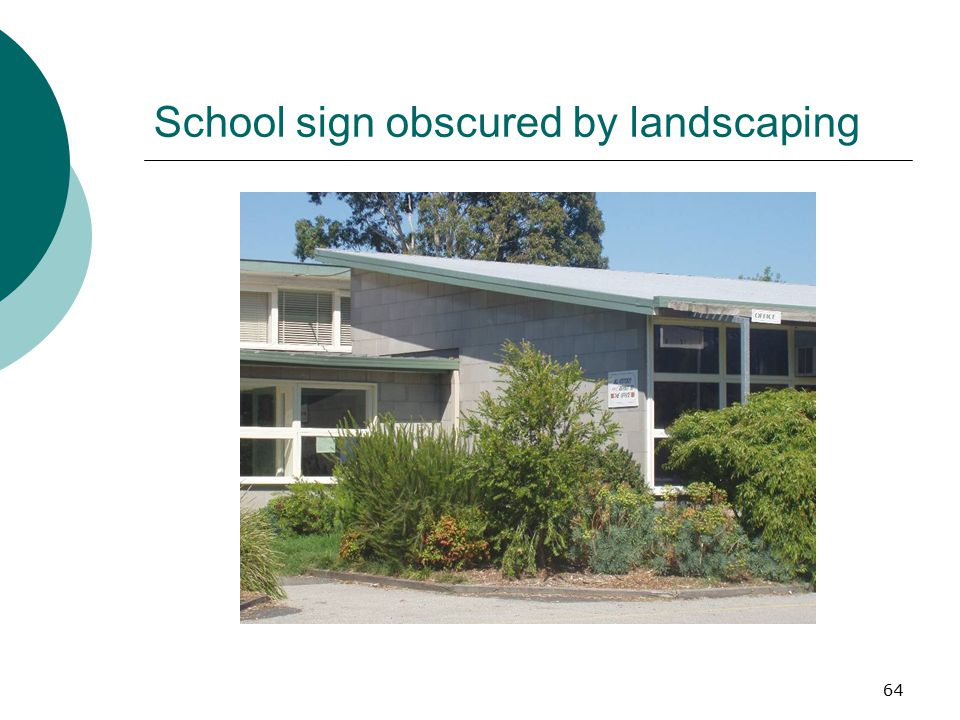 School sign obscured by landscaping