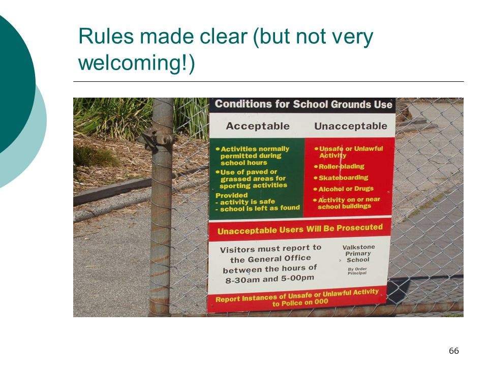 Rules made clear (but not very welcoming!)