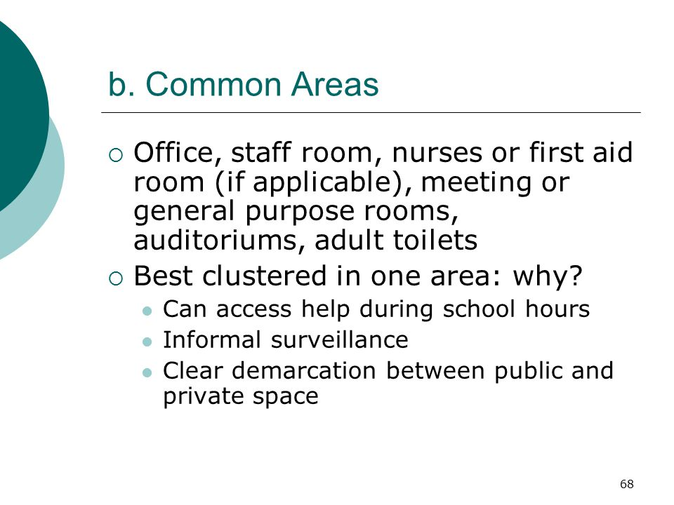 b. Common Areas Office, staff room, nurses or first aid room (if applicable), meeting or general purpose rooms, auditoriums, adult toilets.