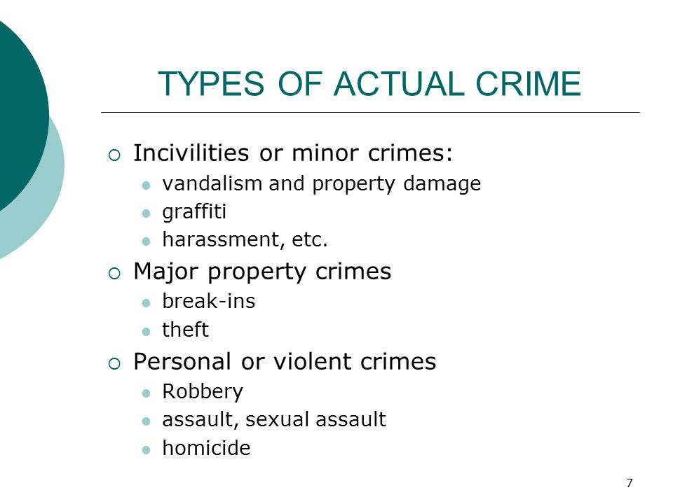 TYPES OF ACTUAL CRIME Incivilities or minor crimes: