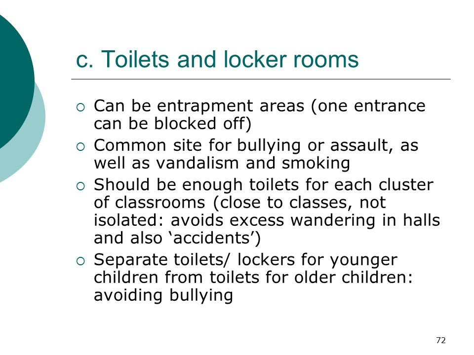 c. Toilets and locker rooms
