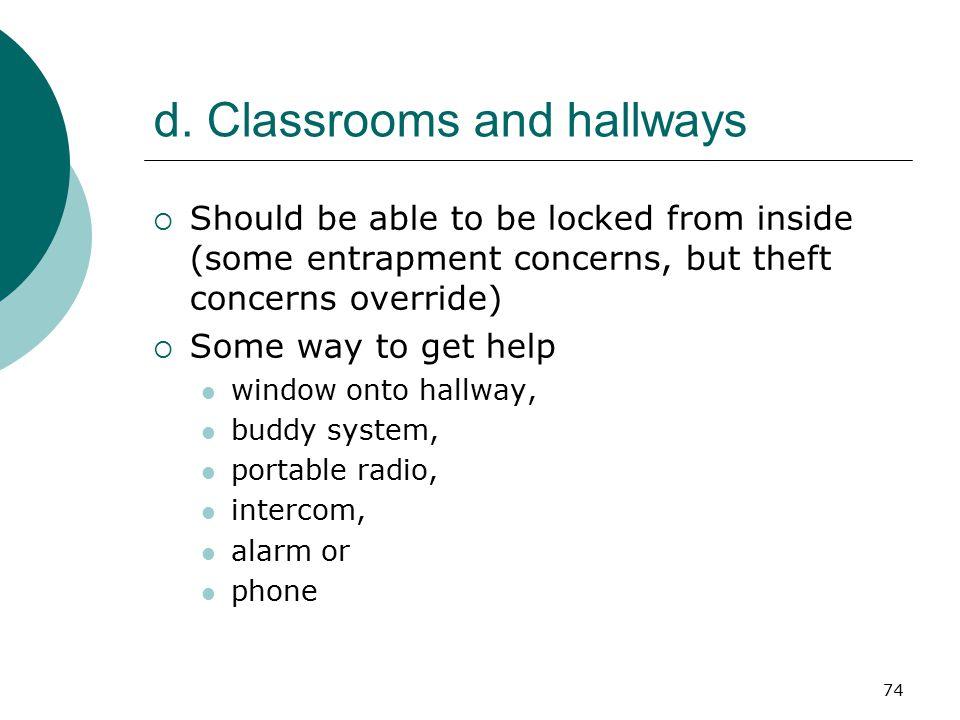 d. Classrooms and hallways