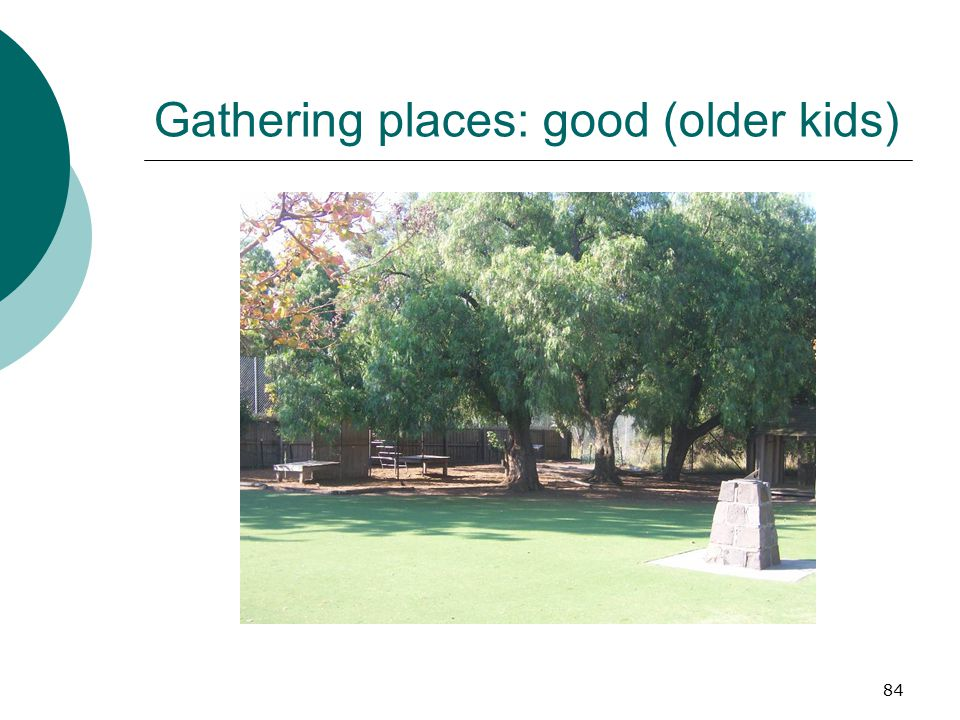 Gathering places: good (older kids)
