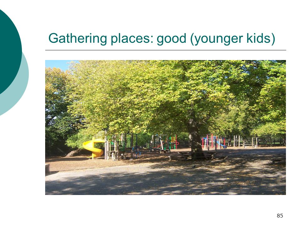 Gathering places: good (younger kids)