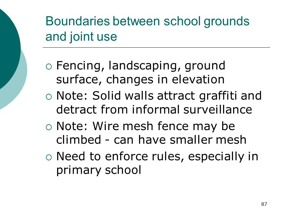 Boundaries between school grounds and joint use