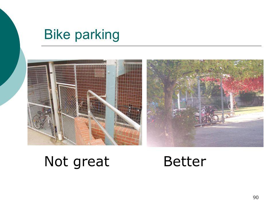 Bike parking Not great Better