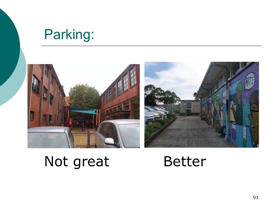 Parking: Not great Better