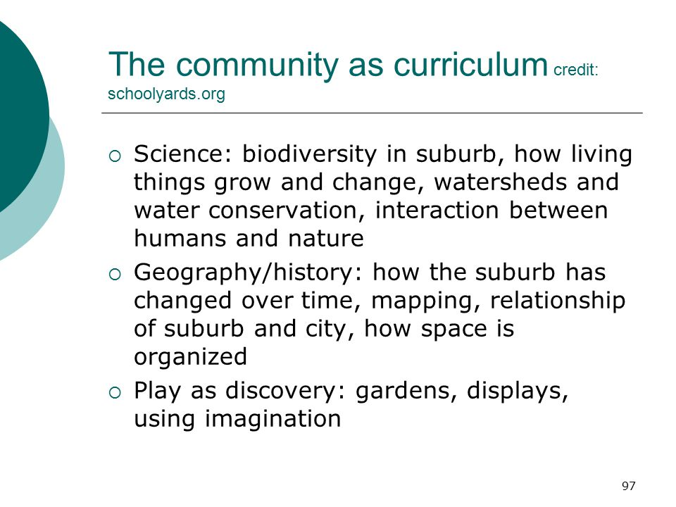 The community as curriculum credit: schoolyards.org