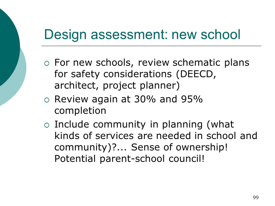 Design assessment: new school